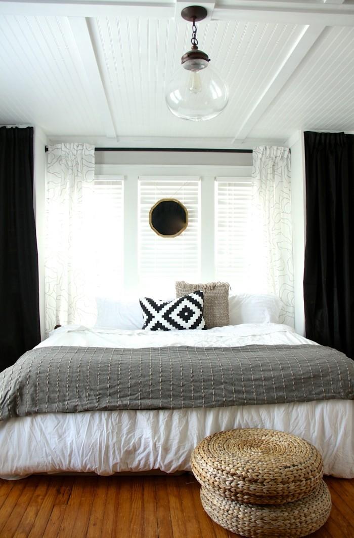 deckengestaltung kassettendecke im schlafzimmer und schöner bodenbelag