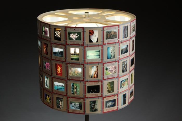 diy lampenschirm punkten-jute negativ basteln mit papier basteln mit pappbecher alte bilder wieder verwenden