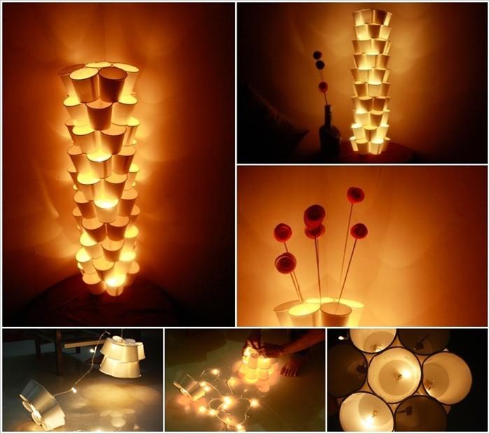 diy lampenschirm punkten-jute negativ basteln mit papier basteln mit pappbecher
