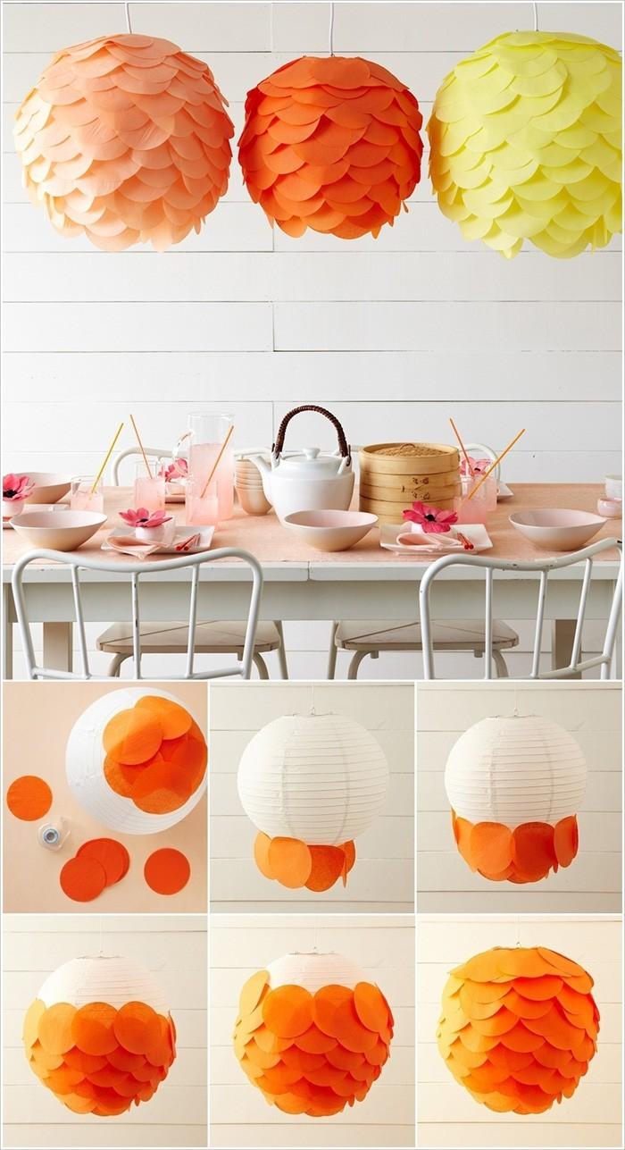 diy lampenschirm punkten-jute negativ basteln mit papier küche erfrischen