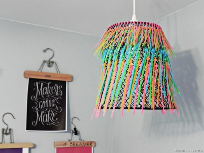 diy lampenschirm upcycling ideen kreativ gestalten basteln mit papier papierkorb