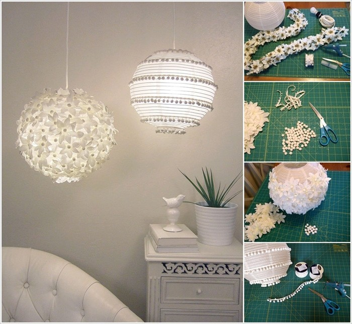 diy lampenschirm upcycling ideen kreativ gestalten papierlampignon pimpen