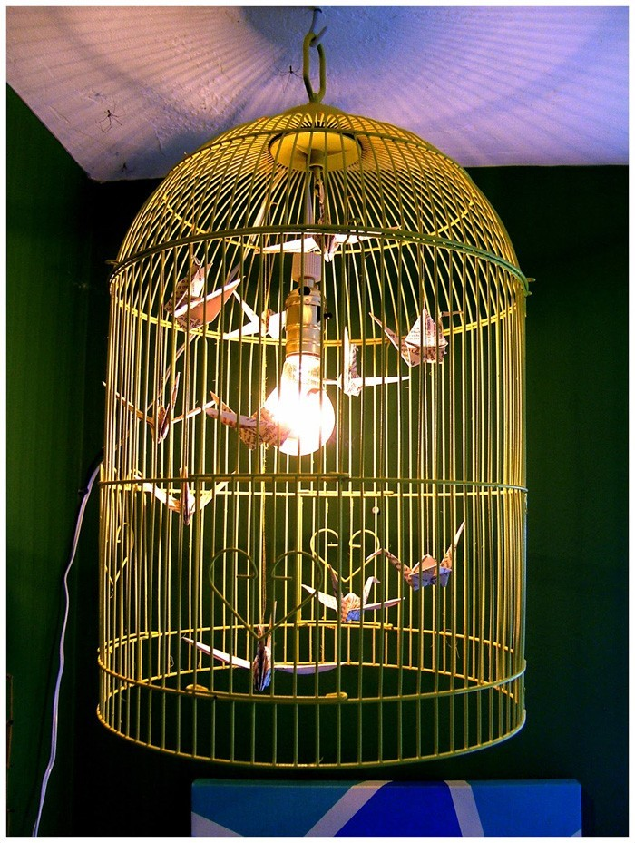 diy lampenschirm upcycling ideen kreativ gestalten papierlampignon vogelkäffig