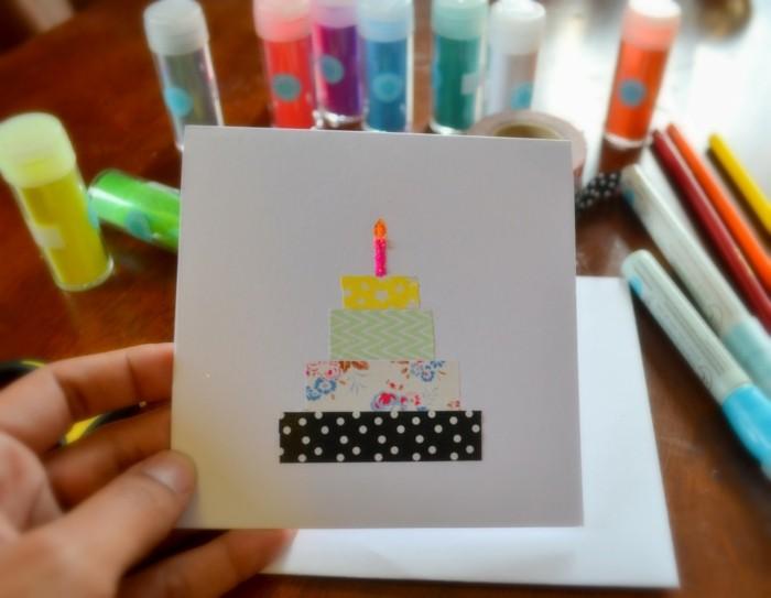 geburtstagskarte selber basteln washi tape
