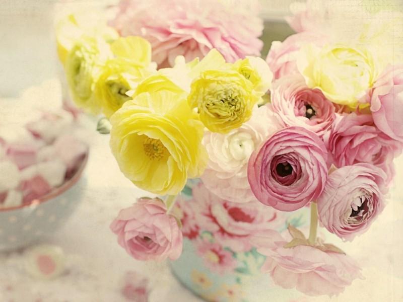gelbe rosa ranunkel frühlingsblumen vase shabby chic stil