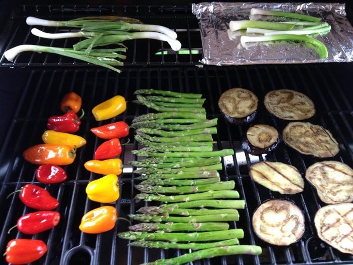 gemüse grillen paprika spargel