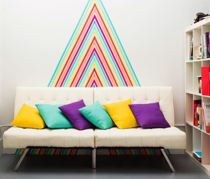 geometrische wandgestaltung washi tape ideen