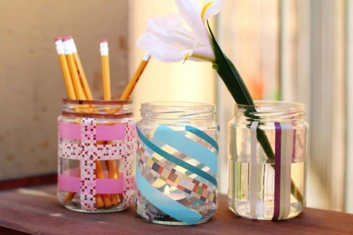 gläser selber dekorieren mit washi tape
