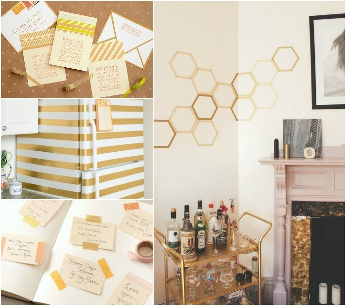 gold washi tape wanddekoration ideen