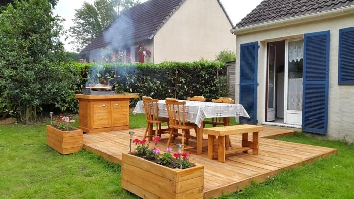 grillen im garten plancha grill einfamielienhaus sommerterrasse