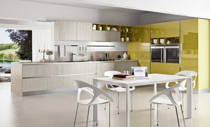 küche l-form gelbe oberflächen als eyecatcher und minimalistische elemente