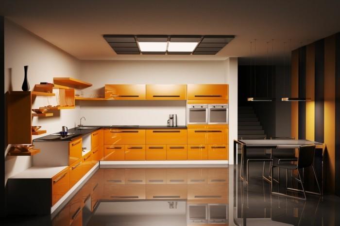 küche l-form orange küchenschränke und dunklerbodenbelig