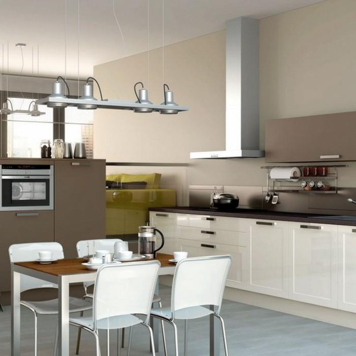 küchengestaltung in weiß und braun