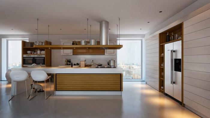 küchengestaltung moderne küche mit viel arbeitsplatz und coolen barhockern