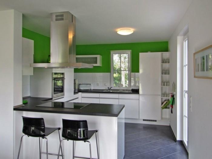 küchengestaltung offene küche in weiß und grün