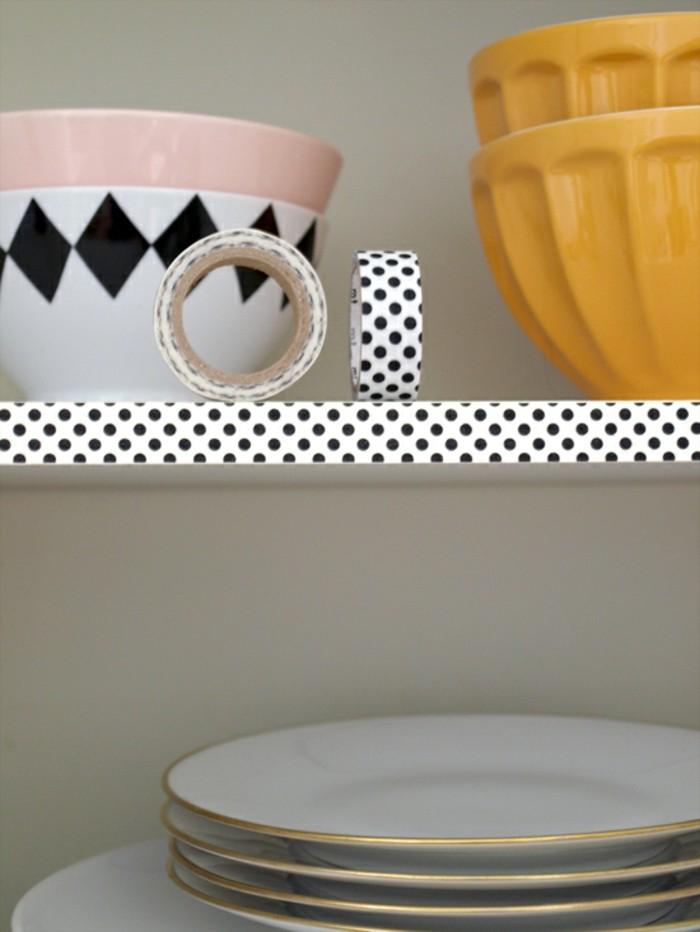küchenregale mit washi tape dekorieren ideen