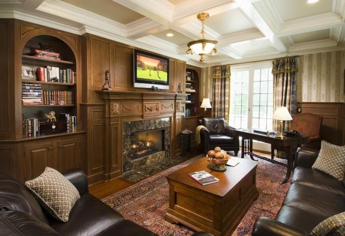 kassettendecke im gemütlichen und stilvollen wohnzimmer