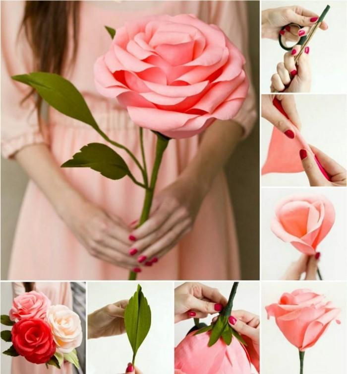 kreativ basteln ausgefallene riesengroße rose aus papier