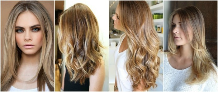 lange haare damenfrisuren hairstyling ombre blon strähnchen
