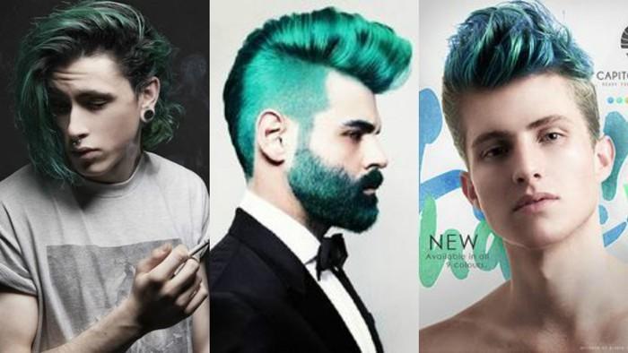 männerfrisuren 2017 blau-grüne farbe haarfarbe