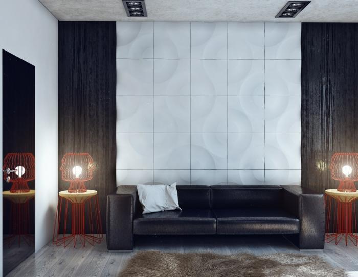 modern wohnen modernes wohnzimmer mit ausgefallenen beistelltischen und gemütlichem teppich
