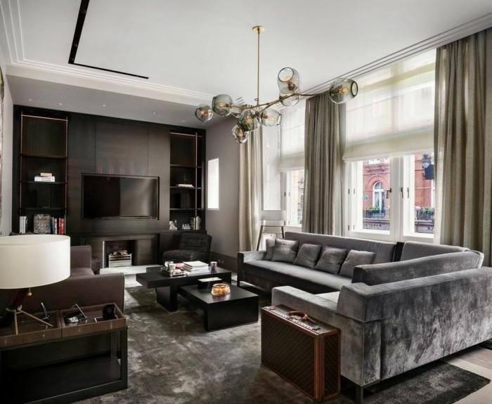 modern wohnen stilvolles interieur mit coolem teppich und minimalistischem couchtisch