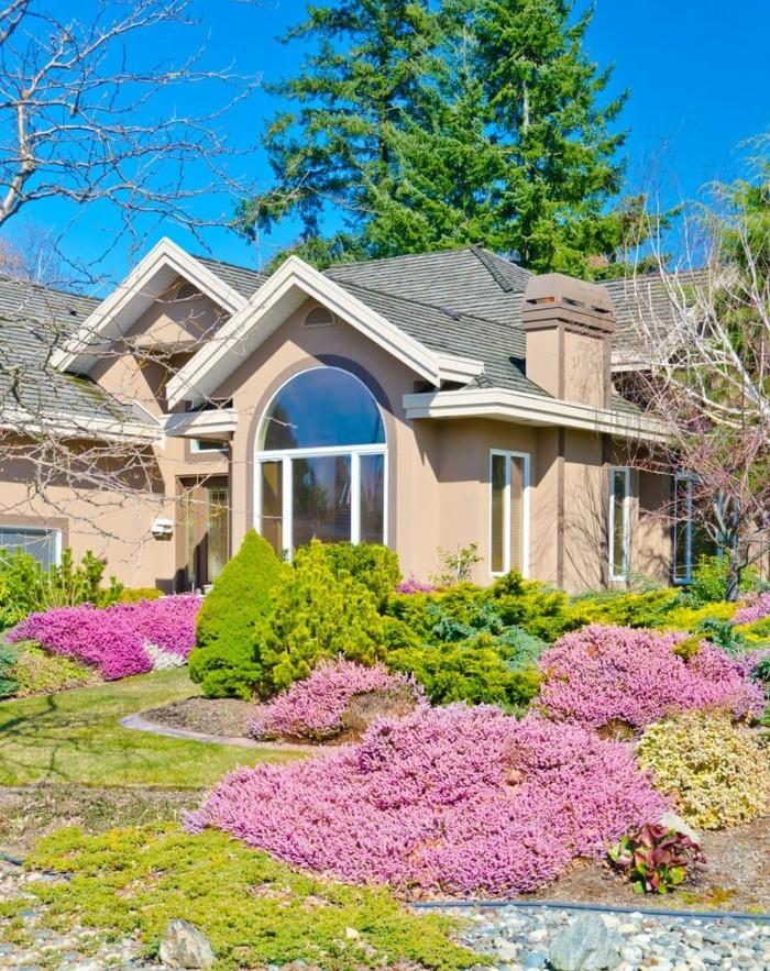moderne gartengestaltung farbenfrohe vorgartengestaltung mit schönen blumen