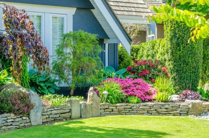moderne gartengestaltung reichliche bepflanzung des vorgartens