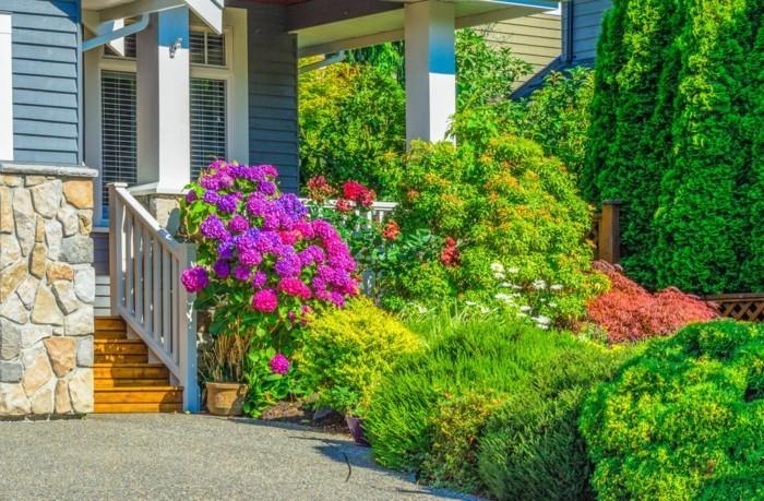 moderne gartengestaltung reichliche bepflanzung für einen ansprechenden vorgarten