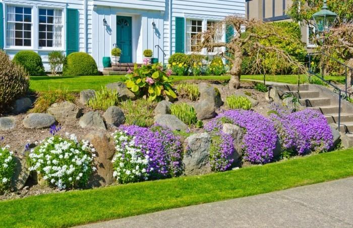 moderne gartengestaltung vorgarten mit steinen gestalten
