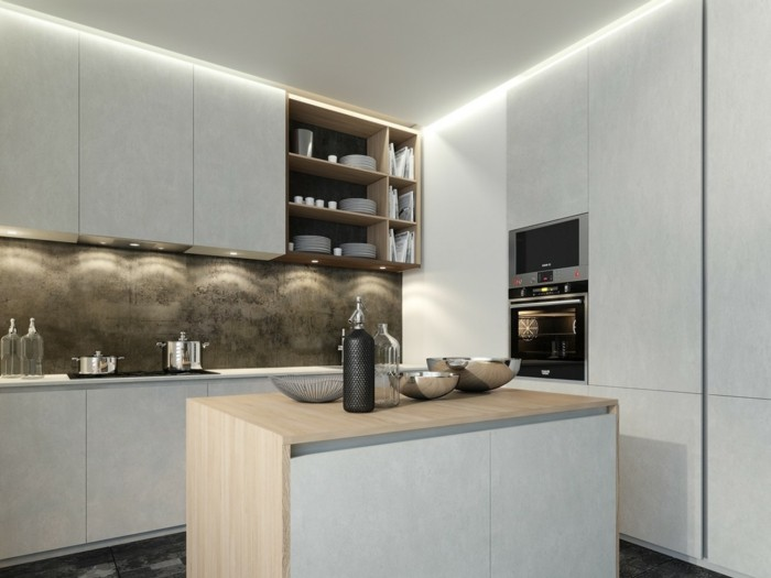 moderne küche auf kleiner fläche mit led beleuchtung