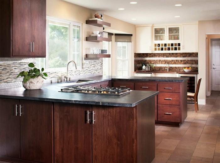 moderne küche elegante küchengestaltung in u form mit bodenfliesen