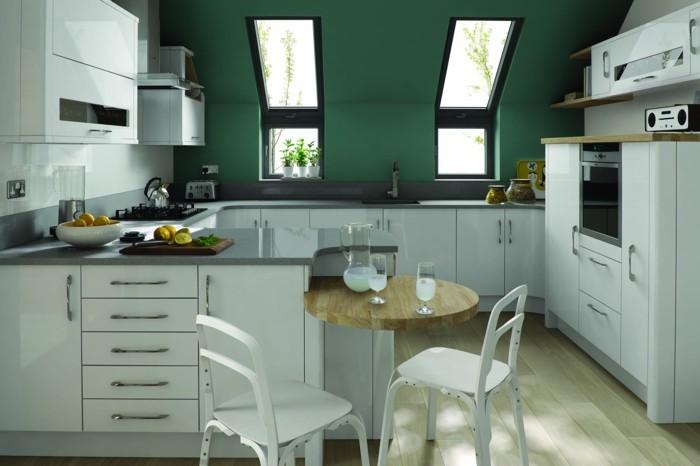 moderne küche in g form weiße möbel und grüne wände