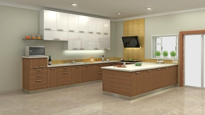 moderne küche in u form mit stilvolle bodenfliesen