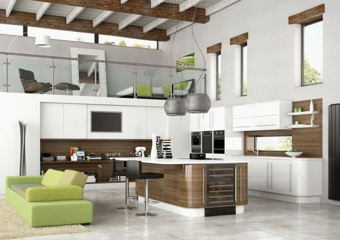 moderne küche offene küche inweiß und braun