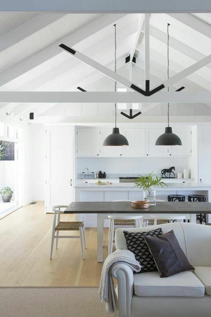 moderne küche offene küche mit esstisch und pendellampen