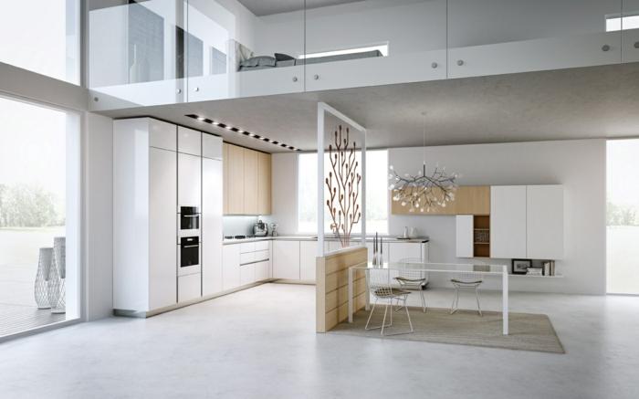 modernes wohnen ausgefallene küche mit bereichen