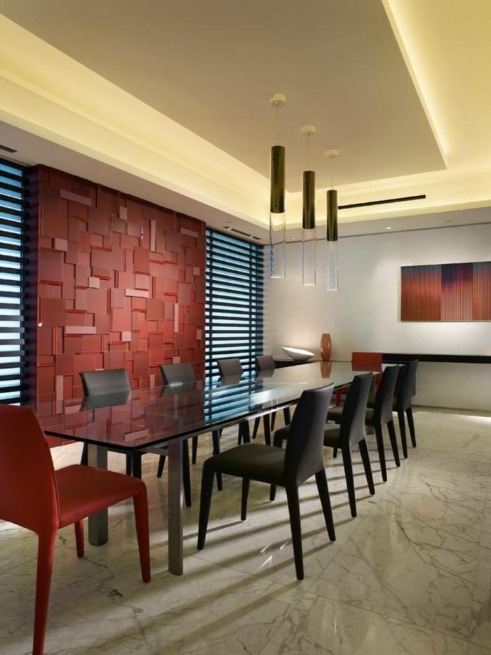modernes wohnen ausgefallene wandgestaltung im esszimmer und glastisch