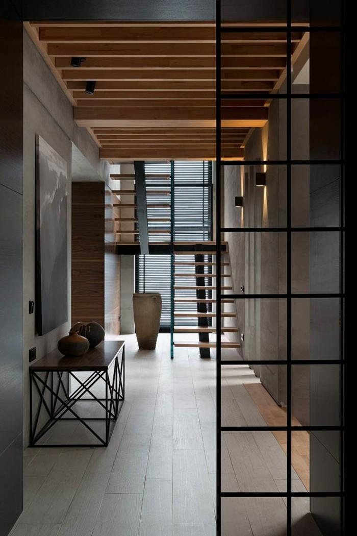 modernes wohnen bodenflisen und schöne zimmerdecke