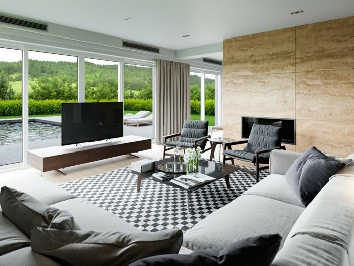 modernes wohnen cooler wohnzimmerteppich und schöne aussicht