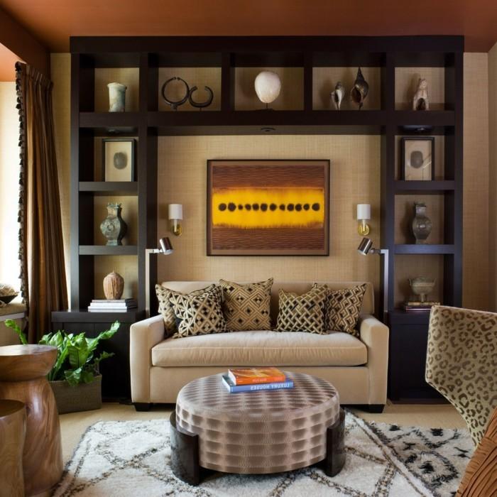 modernes wohnen gemütliches wohnzimmer in brauntönen mit viel deko