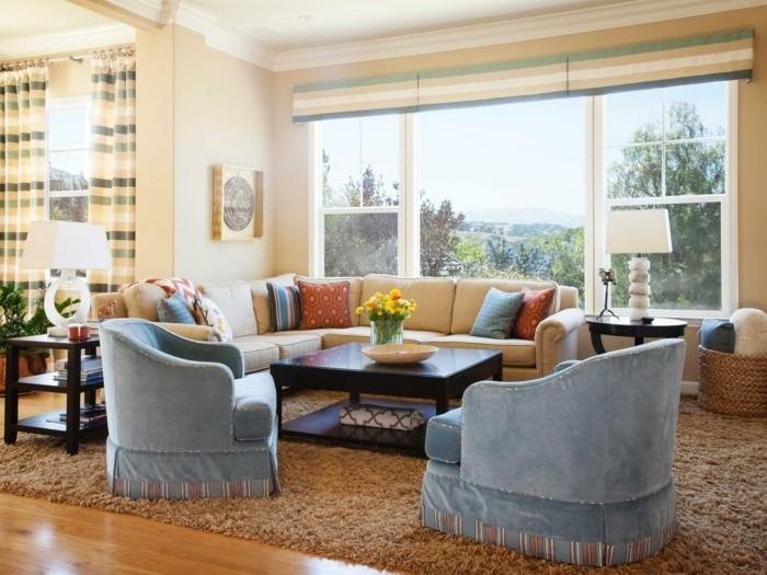 modernes wohnen gemütliches wohnzimmer mit ecksofa und teppich