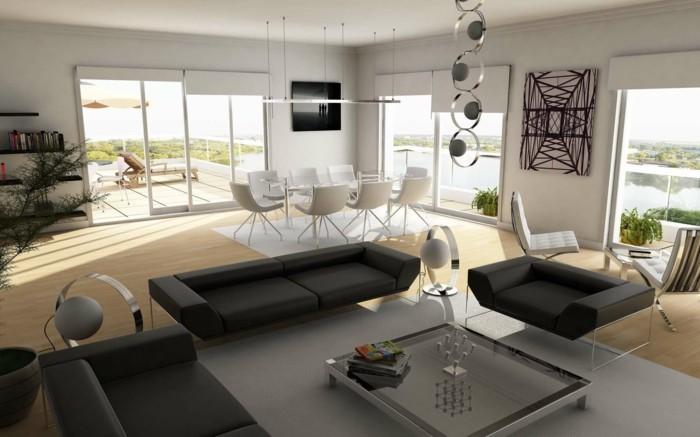 modernes wohnen geräumiger wohnbereich in grau und weiß