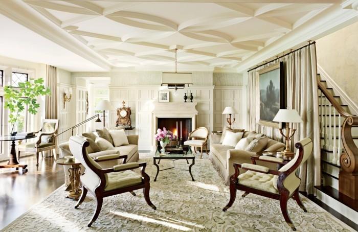 modernes wohnen helles innendesign wohnzimmer mit kamin und vielen pflanzen