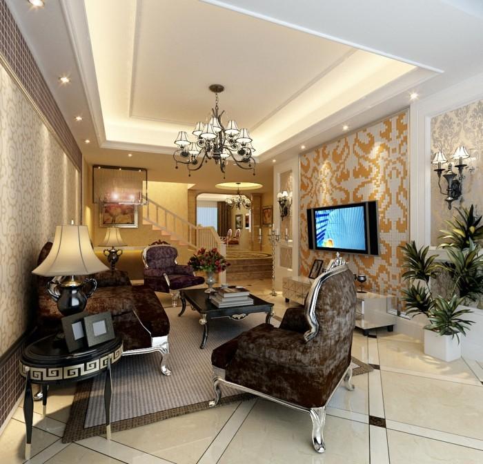 modernes wohnen luxuriöses wohnzimmer mit abgehängter zimmerdecke