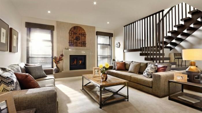 modernes wohnen wohnzimmer mit kamin und schicken stoffen