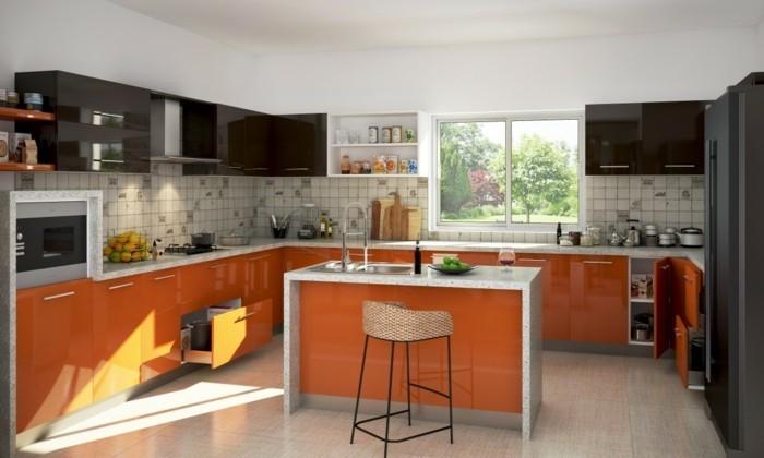 modulküche in orange mit kleiner kücheninsel