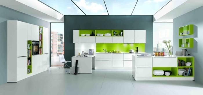 modulküche modernes küchendesign mit grünen akzenten