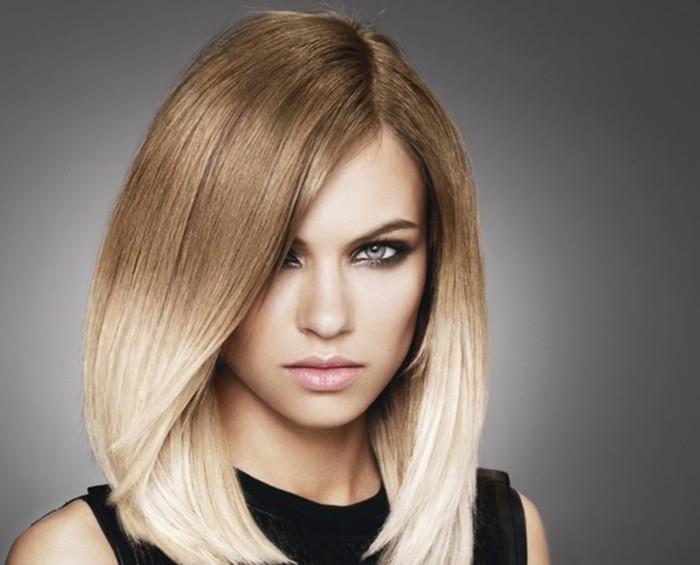 ombre blond halblanges haar dunkelblond