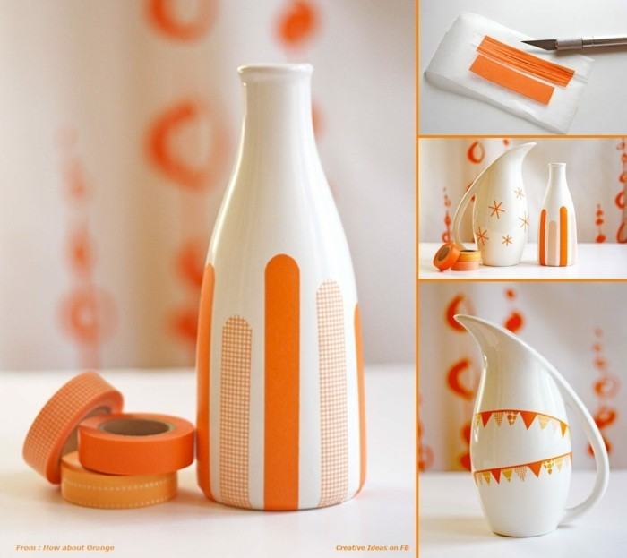 orange washi tapes ideen vase dekorieren